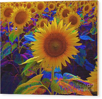 Psychedelic Sunflowers Wood Print