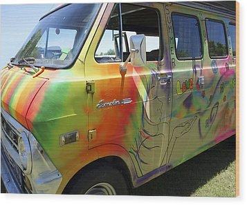 Psychedelic Van Summer Of Love Wood Print by Ann Powell