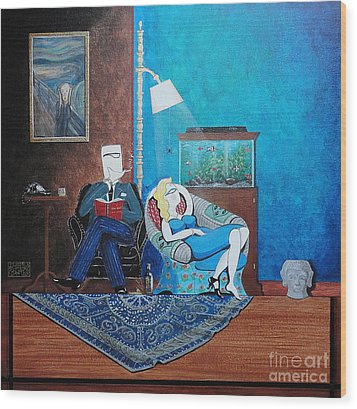 Psychiatrist Sitting In Chair Studying Spider's Reaction Wood Print by John Lyes