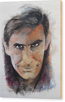 Psycho - Anthony Perkins Wood Print by William Walts