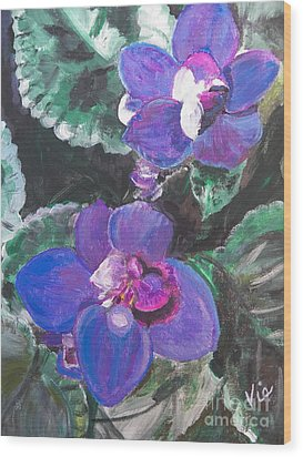 ptg   African Violets Wood Print by Judy Via-Wolff