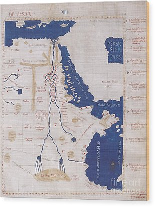 Ptolemys Map Of The Nile 2nd Century Wood Print by Photo Researchers
