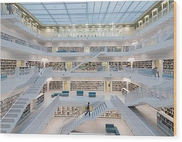 Public Library Stuttgart - Modern Architecture And Lots Of Books Wood Print by Matthias Hauser