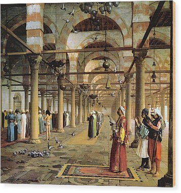 Public Prayer In The Mosque  Wood Print by Jean Leon Gerome