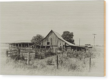Puckerbrush Rd Barn  Wood Print by Wilma  Birdwell