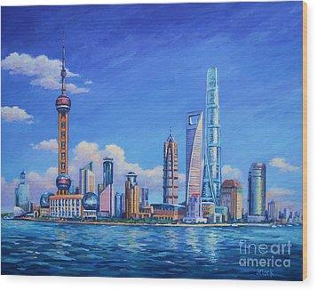 Pudong Skyline  Shanghai Wood Print by John Clark