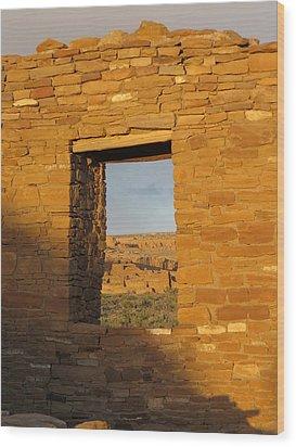 Pueblo Bonito Through A Doorway Wood Print by Feva  Fotos
