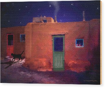 Pueblo Cat Wood Print