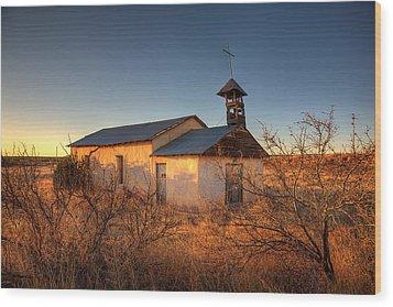 Pueblo Church Wood Print by Peter Tellone