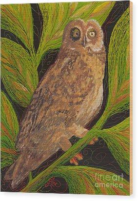 Wood Print featuring the painting Pueo by Anna Skaradzinska