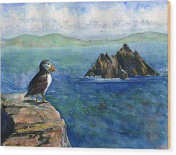 Puffin At Skellig Island Ireland Wood Print