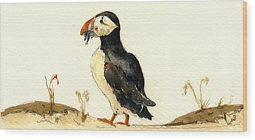Puffin With Fishes Wood Print