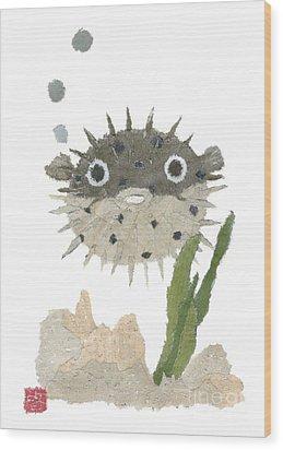 Blowfish Art Wood Print by Keiko Suzuki