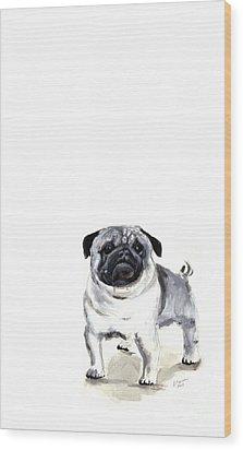 Pug 1 Wood Print by Barbara Marcus