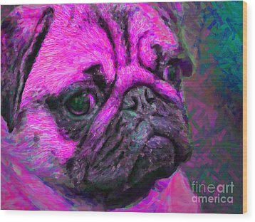Pug 20130126v3 Wood Print by Wingsdomain Art and Photography