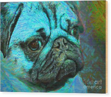 Pug 20130126v5 Wood Print by Wingsdomain Art and Photography