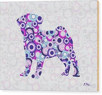 Pug - Animal Art Wood Print by Anastasiya Malakhova