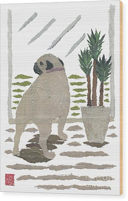Pug Art Hand-torn Newspaper Collage Art Wood Print by Keiko Suzuki Bless Hue