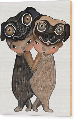 Pug Brothers Wood Print by Beatrice Ajayi