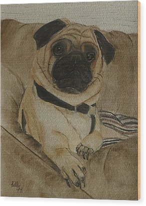 Pug Dog All Ready To Cuddle Wood Print by Kelly Mills