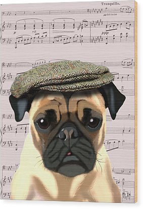 Pug In A Flat Cap Wood Print by Kelly McLaughlan