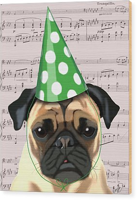 Pug In A Party Hat Wood Print by Kelly McLaughlan