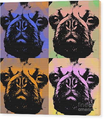 Pug Pop Art Wood Print