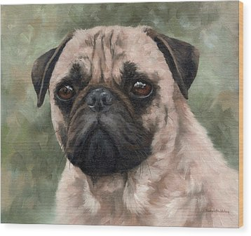 Pug Portrait Painting Wood Print
