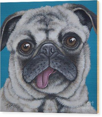 Pug Portrait Wood Print by Tish Wynne