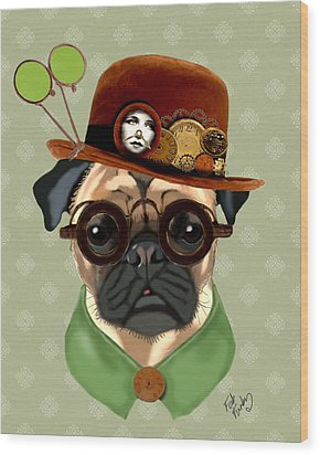 Pug Steampunk In A Bowler Hat Wood Print by Kelly McLaughlan