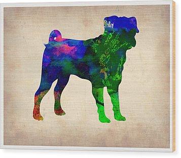 Pug Watercolor  Wood Print by Naxart Studio
