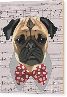 Pug With Bow Tie Wood Print by Kelly McLaughlan