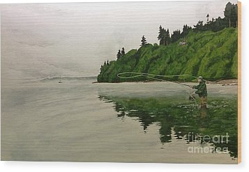 Puget Sound On The Fly Wood Print by Jason Bordash