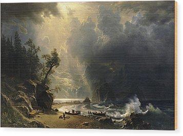 Puget Sound On The Pacific Coast Wood Print by Albert Bierstadt