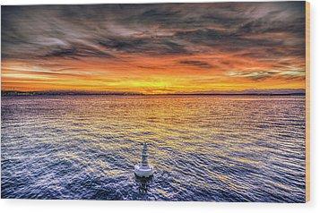 Puget Sound Sunset Wood Print by Spencer McDonald