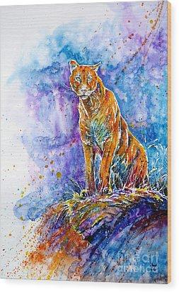 Puma. Listening To The Sounds Of The Mountains.  Wood Print by Zaira Dzhaubaeva