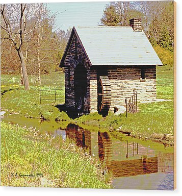 Pump House And Water Wheel In Autumn Digital Art Wood Print by A Gurmankin