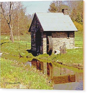 Pump House And Water Wheel In Autumn Digital Art Wood Print by A Gurmankin