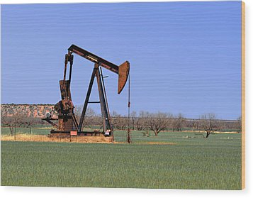 Pump Jack A Texas Icon Wood Print by Christine Till