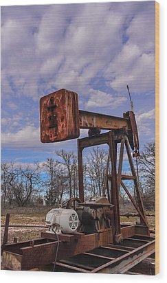 Pump Jack Wood Print by Kelly Kitchens