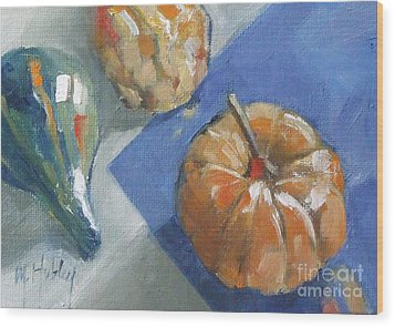 Pumpkin And Gourds Still Life Wood Print