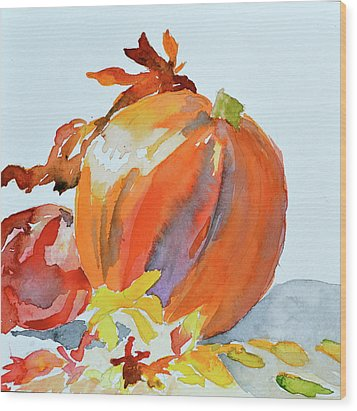 Wood Print featuring the painting Pumpkin And Pomegranate by Beverley Harper Tinsley