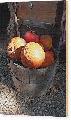 Pumpkin Barrel Wood Print by Mark Barclay