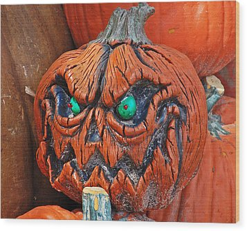 Pumpkin Face Wood Print
