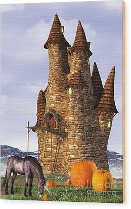 Pumpkin Patch Unicorn Wood Print