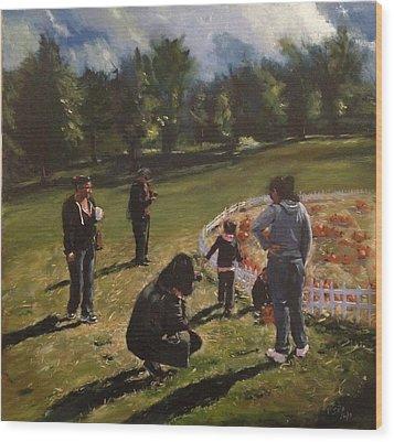 Pumpkin Picking Wood Print by Victor SOTO