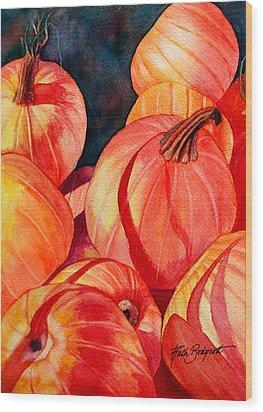 Pumpkin Pile Wood Print by Ruth Bodycott