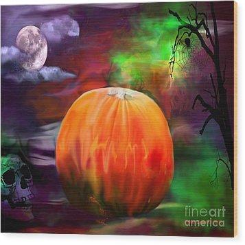 Pumpkin Skull Spider And Moon Halloween Art Wood Print