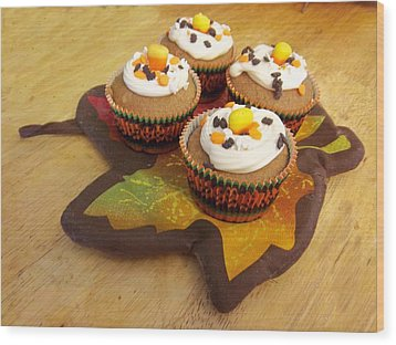 Pumpkin Spice Cupcakes Wood Print by Rosalie Klidies