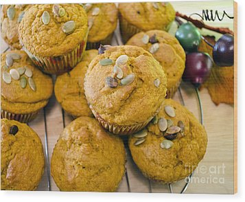 Wood Print featuring the photograph Pumpkin Spice Muffins For Fall by Maria Janicki